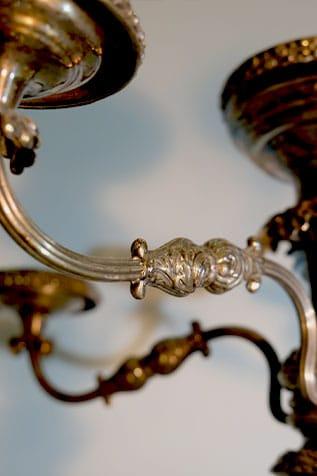 Centre de table en métal argent à 5 bras de lumières