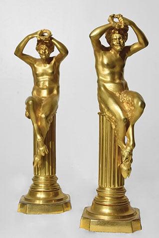 pièce décorative paire de faunes bronze