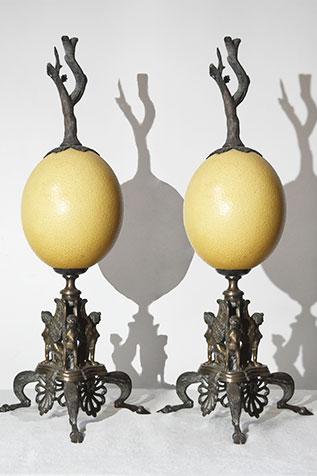 pièce décorative paire d'œufs d'autruche