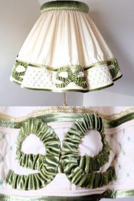 abat jour en tissu velour vert
